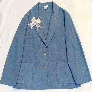 Vintage 70's Sky Blue Tweed Blazer